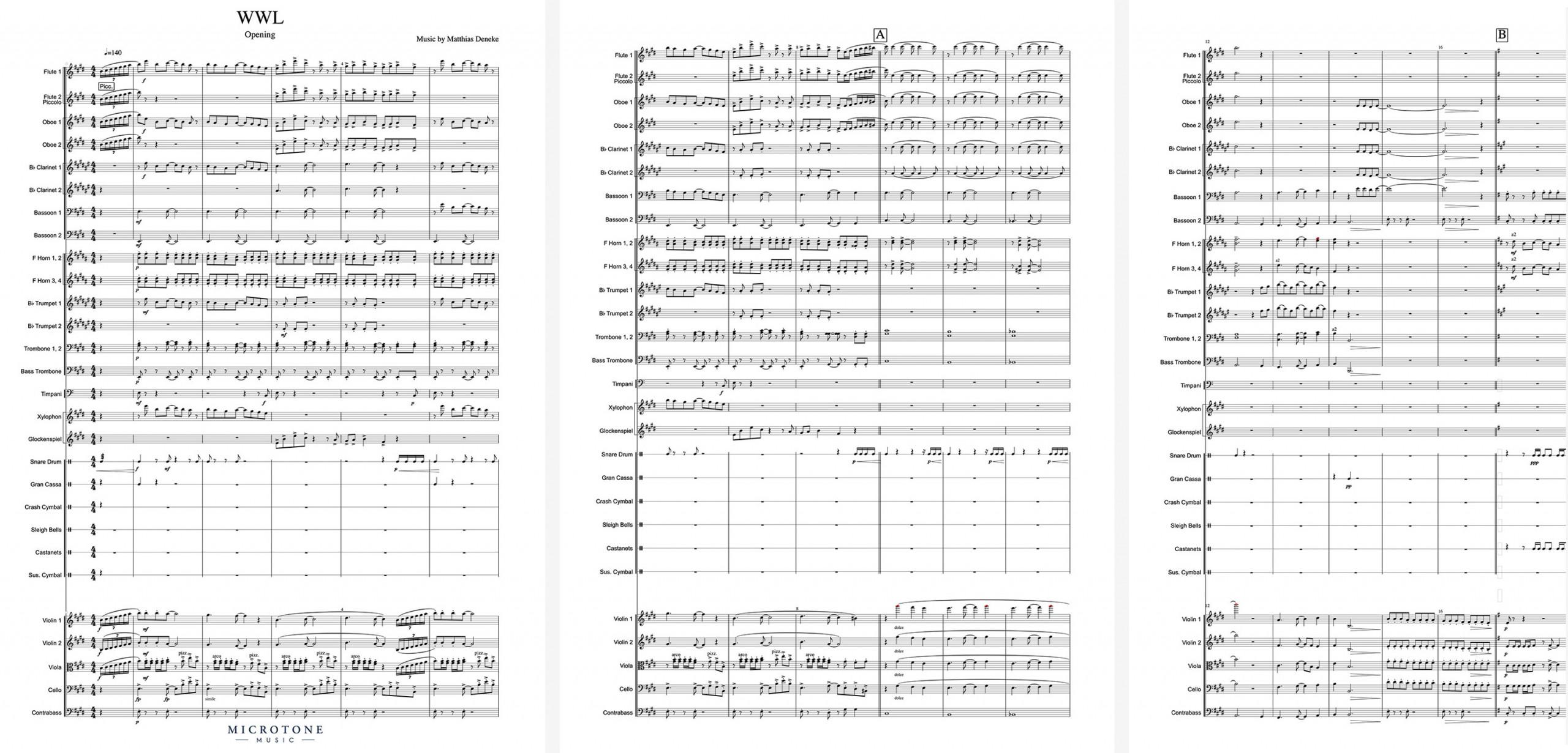 Beispielpartitur Orchesterbesetzung